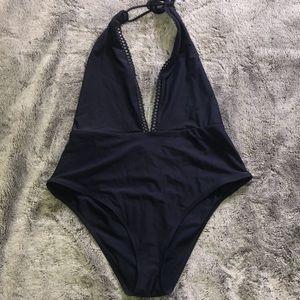 Aerie Navy Blue Plunge One Piece Swimsuit